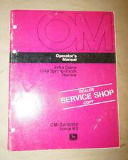 1974 John Deere 1740 Spring-Tooth Harrow Operator's Manual P/N Om-Ga10454 K4