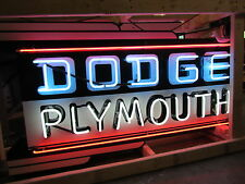 """New Dodge/Plymouth Double-Sided Painted Sign with Neon 72""""W x 40""""H"""