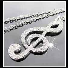 Cute Full Rhinestone Clef Signs Note With Silver Chain Pendant Long Necklace