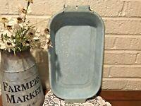 Vintage Light Blue and White Speckled Enamelware Graniteware Oblong Baking Pan