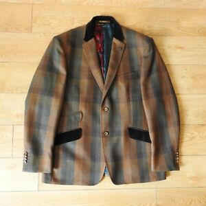 Ted Baker Mens Check Wool Blazer Jacket Size 46R Rare