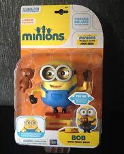 Nuevo Figura De Lujo De Minions Bob Con Osito parte móvil Poseable Juguete Minion