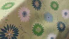 STYLIZED FLORAL NAVY GREEN AQUA OUTDOOR  UPHOLSTERY FABRIC