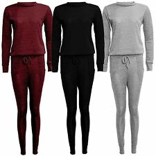 New Ladies Plus Size Knitted Thermal Tracksuit Jogging Top Bottom Set 12-22