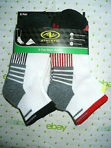 Athletic Works Boys Ankle Socks 6 Pair Size LARGE 3-9 NEW White Black Red