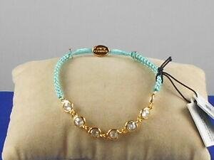 Juicy Couture Goldtone Multi Stone Glace Blue Macrame Pully Friendship Bracelet