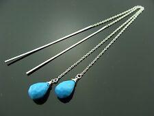Turquoise 925 Sterling Silver Ear Threads Earrings