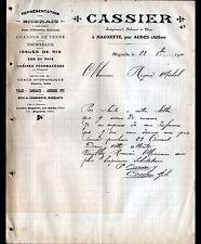 """MAGNETTE prés AUDES (03) MATERIAUX de CONSTRUCTION & BOIS """"CASSIER"""" en 1910"""
