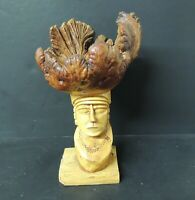 Burl Wood Sculpture Free Form Top Bowl Bust Tribal Hand Carved Very Unusual