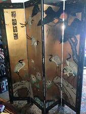 Oriental Furniture Screen Gold Leaf Lacquer 4 Panel Room Divider Vintage Painted