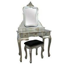 French Antique Silver Chateau Shabby Chic Dressing Table & Stool