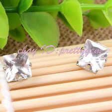 7mm White Square CZ Crystal No Ear Hole Men Unisex Magnetic Stud Errings 1 Pair