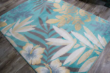 "5x8 (5'3"" x 7'2"") Tropical Coastal Beach Floral Aqua Teal Gray Blue Area Rug"