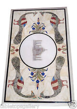 "24""x55"" White Marble Dining Table Top Tajmahal Peacock Inlay Mosaic Work H2025"