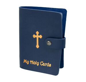 Blue Leatherette Holy Card Holder