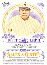 2016 ALLEN & GINTER BABE RUTH/HANK AARON RIP CARD 37/50! UNRIPPED! FREE SHIP!HOF
