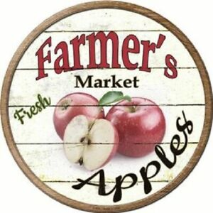 """FARMERS MARKET APPLES 12"""" ROUND LIGHTWEIGHT METAL WALL SIGN DECOR RUSTIC"""