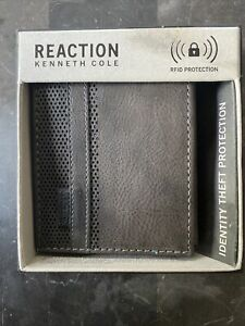 KENNETH COLE Men Genuine Gray Leather BIFOLD Wallet Valet with RFID Protection