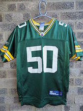 VINTAGE Green Bay Packers Football Americano Jersey #50 Hawk Reebok NFL