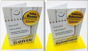 NEU Glückwunschkarte Zur Rente / Zum Ruhestand Rentner Karte mit Ansteckbutton