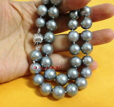 """AAAAA 17""""11-12mm NATURAL REAL ROUND South sea silver gray pearl necklace 14K 585"""