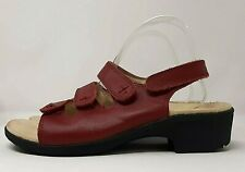 Scholl Orthaheel Red Leather Sandal UK 6 Extra Wide Fit Triplanar Comfort Shoes