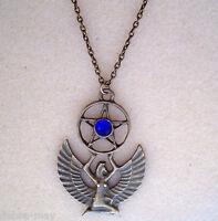 "Egyptian Mother Goddess Isis Pentagram Blue Bronze Amulet Talisman 24"" Necklace"