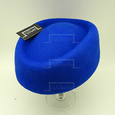 Wool Felt Women Pillbox Hat Ladies Fascinator | Blue | Round | VINTAGE x FORMAL