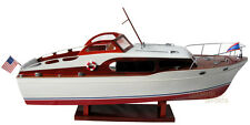 """Handcrafted Chris Craft Commander Wooden Model Boat 30"""" Ready RC"""