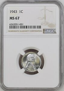 1943 1C Lincoln Wheat One Cent NGC MS67   6260051-001
