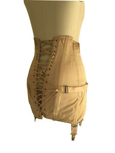 Vintage Corset 1920s 1930s Open Bottom Girdle Boning Fan Lacing Garters S M