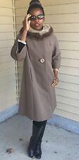 Designer Queen collar classy A line sable gray Mink fur trim coat jacket S-M 2-8