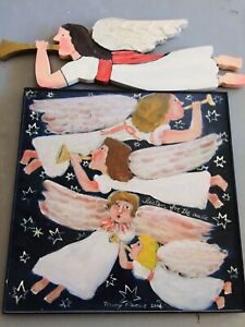"""Large Nancy Thomas Metal Plaque Trumpeting Angels  15"""" x 21"""" 2004 Signed"""