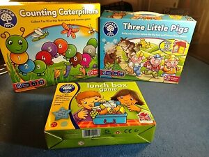 Orchard Toys Games Bundle Lunchbox, Counting  Caterpillars, Three Little Pigs