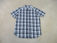 Columbia Button Up Shirt Adult Large Blue Gray Plaid Camp Casual Outdoor Mens