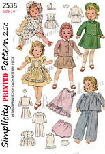 Simplicity 2538-14 inch shirley temple - doll clothes sewing pattern 1940's