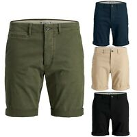 Mens Jack&Jones Regular Fit chino shorts Turn-up Summer Casual Half Pants S-2XL