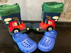 BOYS SIZE 3 4 5 6 7 8 9 10 BLUE RED TRACTOR DIGGER PATTERN WELLIES WELLY BOOTS