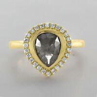 Pear Shape 1.20 Ct Salt & Pepper Natural Diamond Solid 14K Gold Engagement Ring