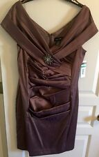 CACHET NWT Womens Java Ruche' Dress With Broach Size 16 Wedding Evening Party
