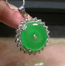 White Gold Plate Green JADE Pendant Circle Necklace Diamond Imitation 100174