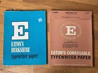 Vintage Eaton's Berkshire & Corrasable Bond Typewriter Typing Paper 100 sheets