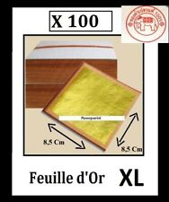 100 feuilles d' or XL 8.5 Cm 24 K Carats Veritable Gold Leaf paper sheets