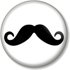 "Moustache 25mm 1"" Pin Button Badge Novelty Movember Mustache Tash Geek Hipster"