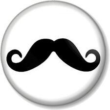 "Moustache 25mm 1"" Pin Button Badge Novelty Movember Mustache Tash Geek Hipster"