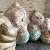 Vintage Carvings Sleeping Children Carved Wood Figures Asian Art