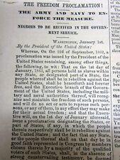 <1863 CIVIL WAR Sacramento CALIFORNIA newspaper with EMANCIPATION PROCLAMATION