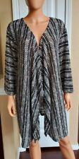 Catherines Women's Black/Ivory Geometric Open Front Knit Sweater Cardigan, 5X