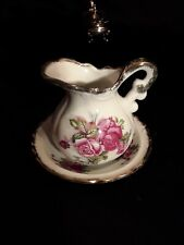 Cabbage Rose Creamer With DIsh,  Gold Gilt #STUNNING..Made in Japan