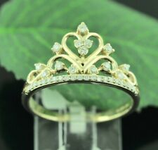 14k solid Yellow gold diamond crown ring.
